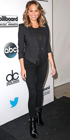 Last Night's Look: Love It or Leave It? | CHRISSY TEIGEN | wearing all-black everything (down to her Citizens of Humanity jeans) at the 2015 Billboard Music Awards finalists press conference (the model will host the awards show alongside rapper Ludacris) in Santa Monica.