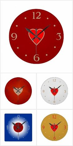 A new collection of clocks,including heart designs and my signature colorful minimalist clocks with numerals. Minimalist Clocks, Heart Designs, Wall Clocks, My Design, Kids Room, Nursery, Collections, Create, Gifts
