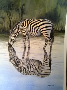 One of my best so far - Zebra in the reflection series  Lovely painting...Repinned & Repinned from Liz's own watercolour paintings by Liz Phillips