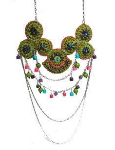 Folk Crochet Necklace tribal gipsy pink bright chartreuse purple mint green embroidered.