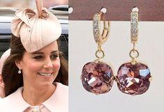 Kate Middleton Dark Rose Pink Gold Crystal Square by tudorshoppe