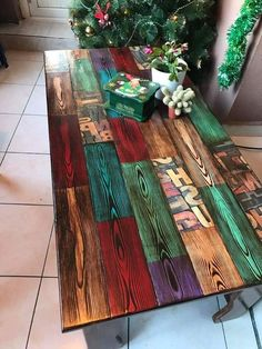 Love this table! Only a picture, but you could replicate most of this burning the wood to bring out the grain and then adding Unicorn Spit.