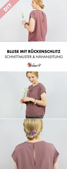 Elegant blouse with slit in the back - sewing instructions and .- Elegante Bluse mit Schlitz im Rücken – Nähanleitung und Schnittmuster via Make… Elegant blouse with slit in the back – sewing instructions and patterns via Makerist. Clothing Tags, Clothing Patterns, Dress Patterns, Sewing Clothes, Diy Clothes, Ankara Mode, Diy Fashion Projects, Diy Kleidung, Diy Mode