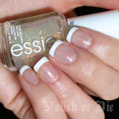 Glitter french manicure with Konad stamping plate M19 and Essie Shine of the Times