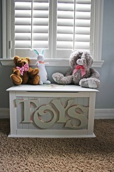 Hand painted Toy Chest by HeatherMow on Etsy, $280.00. Could do decorated wood letters on the plain toy chest we already have.