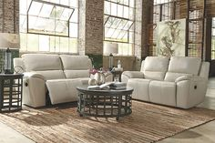 Cream Valeton Power Reclining Sofa View 4