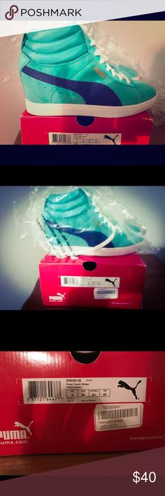 NIB teal and navy Puma wedge sneakers size 8.5 New in box teal and navy Classic wedge PUma sneakers size 8.5 Puma Shoes Wedges