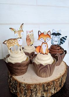 Adorable Woodland Cupcake Toppers delivered to your home! All items are printed, cut, glued and assembled ready for you to decorate your table at your special event! **Please checkout my shop for more matching items! Baby Shower Cupcakes For Girls, Baby Shower Cakes, Baby Shower Themes, Woodlands Baby Shower Theme, Baby Cupcake, Deer Baby Showers, Animal Cupcakes, Festa Party, Woodland Baby