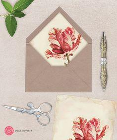 Botanical Marsala Floral Envelope Liner  DIY by vgluxeinvites