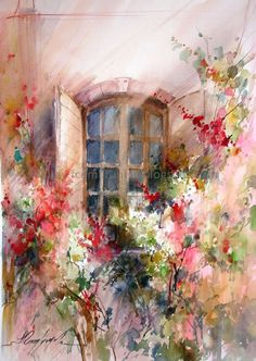 Painting by fabio cembranelli Watercolor Pictures, Watercolor Landscape, Abstract Watercolor, Watercolor Flowers, Watercolor Paintings, Painting Flowers, Watercolours, Impressionist Paintings, Beautiful Paintings
