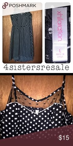 Black and white spring polka dot dress size large Excellent condition! xhilaration brand from target. Vintage feel modernized! Black and white polka dot spaghetti strap dress with piping and lace at neckline! Xhilaration Dresses Midi