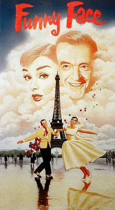 """Funny Face, Audrey Hepburn, Fred Astaire. Great classic film of shopgirl turned model. Although since its Audrey Hepburn, she looks fabulous even in her """"drab"""" phase but her Paris looks are amazing!"""