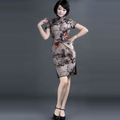 ELEGANT NOSTALGIA 100% COTTON CHEONGSAM DRESS. DYE INK   $298.00 #Dress #China #Cheongsam #Qipao