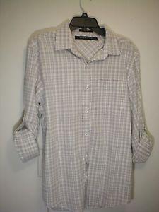 Sean Jean Tailored Mens Plaid Shirt -Long Sleeve/Short w/Buttoned- sz m NWT $68