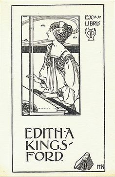 bookplate by British Harold Nelson for Edith Kingsford 1900