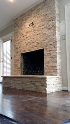 Current and/or Previous Work: Travertine Stacked Stone Fireplace remodel Stone Fireplace Designs, Stacked Stone Fireplaces, Fireplace Update, Home Fireplace, Fireplace Remodel, Fireplace Surrounds, Fireplace Mantels, Fireplace Ideas, Fireplace Stone