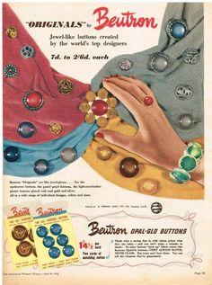 AUSTRALIAN Vintage Advertising BEUTRON BUTTONS AD SEW RETRO 1950 s Original Ad