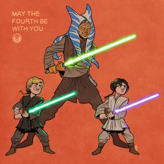 """"""" May the Fourth be with you, young Skywalkers Happy Star Wars day! What if the Jedi never fell, Ahsoka never left the order and the Empire never rose? Ahsoka training Anakin's kids of course. Star Wars Pictures, Star Wars Images, Star Wars Rebels, Star Wars Clone Wars, Happy Star Wars Day, Art Jokes, Star Wars Fan Art, Star Wars Humor, Love Stars"""