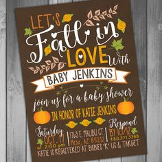 This listing is for the above Fall Baby Shower Invitation You can purchase the digital file only or have me print the invitations for you Need matching items? Get them here: Whats In Your Purse Game: https://www.etsy.com/listing/249532185/baby-shower-fall-baby-fall-in-whats-in?ref=shop_home_active_1 Diaper Raffle Ticket: https://www.etsy.com/listing/249613596/baby-shower-diaper-raffle-fall-baby-fall?ref=shop_home_active_8 Books For Baby Insert: https://www.etsy.com/listing/247798708/baby-...