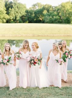 Every shade of pink bridesmaids dresses | Photography: Lauren Peele