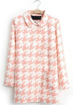 Pink White Lapel Long Sleeve Houndstooth Coat - Sheinside.com