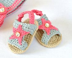 Crochet Pattern Baby Sandals with Stars Instructions for 3