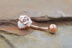 White Rose14kt Rose Gold Rose Daith Rook Piercing