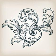 vintage Barock Rolleentwurf Rahmen Gravur Akanthus Blumengrenze Musterelement Retro-Stil filigrane Vektor