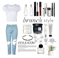 """""""BRUNCH STYLE"""" by gotta-luv-lexi ❤ liked on Polyvore featuring RE/DONE, Topshop, H&M, Gucci, Smashbox, Bobbi Brown Cosmetics, Herbivore, Lancôme, Amanda Rose Collection and Allstate Floral"""