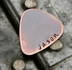 Custom Guitar Pick in Handstamped Copper - Jeremy and I will have been married 6 years on 4/1. Trying to find a anniversary gift for him! www.jeremy-karen.com