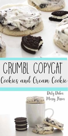 Crumbl Cookies and Cream Copycat- The best oreo cookie dessert recipes that are easy and homemade. These frosted Crumbl copycat cookies are full of sweet, milky flavor. Cookies And Cream Milkshake, Cookies And Cream Frosting, Köstliche Desserts, Delicious Desserts, Yummy Food, French Desserts, Sweet Desserts, Oreo Cookies, Yummy Cookies