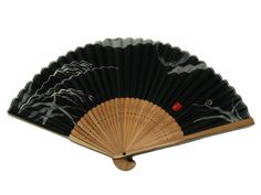Japanese Design Silk Handheld Folding Fan, Black w/Gray Leaves and Red Seal