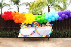 Rainbow party dessert table