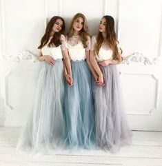 159cd383d5 Belle Dress Tulle Set Lace Crop Top with Sleeves and Tulle skirt long, Lace Crop  Top, Bridesmaids Dress, Tulle Blush Pink Blue Grey Skirt