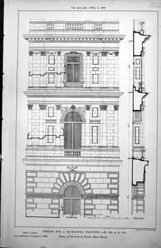 Old Original Antique Victorian Print Design For Municipal Mansion By A. A. Cox. Detail Of Portion Of Towers (East Front) 1885  (1200×1848)
