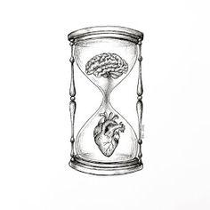 Heart and Brain Drawings Dark Art Drawings, Pencil Art Drawings, Art Drawings Sketches, Tattoo Drawings, Brain Drawing, Brain Art, Arte Com Grey's Anatomy, Anatomy Art, Future Tattoos