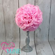 Centerpiece Pink Rose Pomander Glitter Silver Vase - Royal Baby Shower, Birthday, Wedding, Bridal Shower Centerpiece by LovinglyMine on Etsy ... Disney Princess Party, Royal Birthday Party, First Birthday Party Decorations