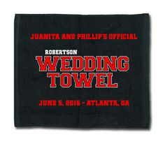 Our custom Designed 2-Color Baseball Themed Wedding Towel makes great guest favors for your baseball themed wedding.
