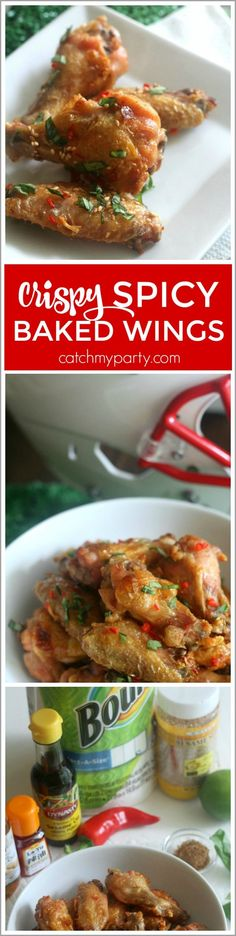 If you are looking for football party food ideas, you will love these crispy spicy baked chicken wings! The secret is baking the wings at high heat to make them extra crispy. Just make sure to have lots of Bounty paper towels for cleanup! #ad | CatchMyParty.com