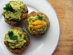 Savoury Spinach, Chickpea-Almond Curry Cupcakes with Lemon and Coriander Hummus Frosting