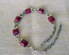 Vintage Ruby Brick Red Thermoset Necklace Raised Faceted Squares, Gold Tone Backing and Extender Chain, Red Vintage Costume Choker Jewelry - pinned by pin4etsy.com