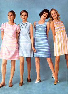 Knee stripes bow blue pink yellow pastels vintage dress shift and f 60s Fashion Trends, 60s And 70s Fashion, Retro Fashion, Vintage Fashion, Fashion Check, Fashion Women, 1960s Dresses, 1960s Outfits, Vintage Dresses