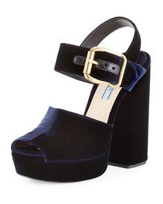 Prada Velvet Platform Ankle-Wrap Sandal, Blue (Bleu), Size: 5B/35EU