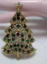 Vintage Signed  Gold Tone Multi Color  Rhinestone Christmas Tree Pin Brooch~