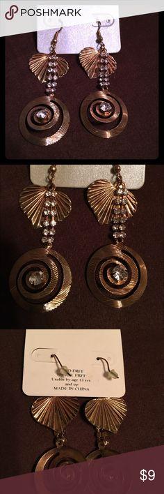 Rainbow Jewelry dangle earrings! Bronze dangle earrings with acrylic diamond stone detail. From Rainbow Jewelry. Brand new never worn. Lead free and nickel free Rainbow Jewelry Accessories