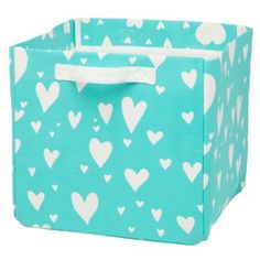 Land of Nod's Love Struck Cube Bin  (Aqua)