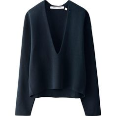 Lemaire x Uniqlo milano rib knit sweater V neck sweater in XS, color navy Lemaire x Uniqlo Sweaters V-Necks