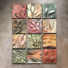 "This grouping of ""Botanical Triad II"" is made with three 11"" x 11"" tiles, and the group measures approximately 11"" w X 35"" h X ~ 1"" dHandmade, sgraffito-carved porcelain tile with NBS cu"