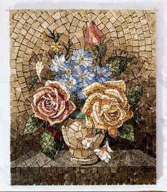 Marble Mosaic Flowers, Roses Painting Tiles, Roman Mosaic Flowers, Framed Painting Flowers In Vase, Lily Painting, Painting Frames, Painting Tiles, Painting Flowers, Marble Art, Marble Mosaic, Mosaic Art, Mosaic Tile Designs, Mosaic Patterns