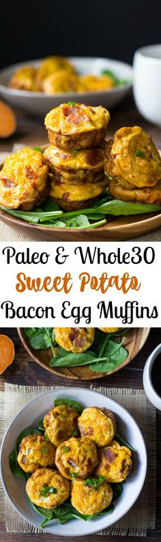 paleo and Whole30 friendly Sweet Potato Bacon Egg Muffins that you can make ahead of time for an easy Paleo breakfast to grab and go!